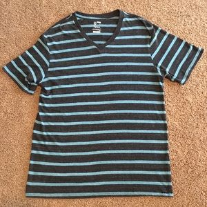 Mens On The BYAS Size XL V Neck Striped Tee Shirt